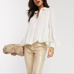 Smock button up shirt with tiering